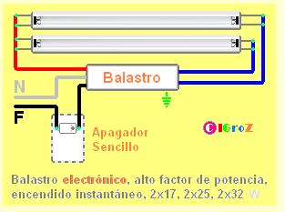 Control de dos lámparas Fluorescentes con un apagador sencillo
