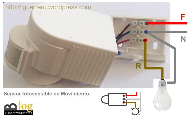 T picos de instalaciones el ctricas el espacio del ing - Como conectar un sensor de movimiento de tres cables ...