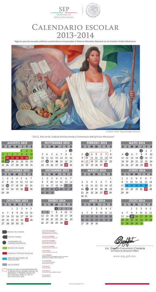 Calendario Escolar Oficial SEP 2013-2014