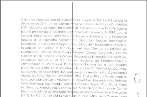 Minuta de Acuerdos SEP-SNTE 2014
