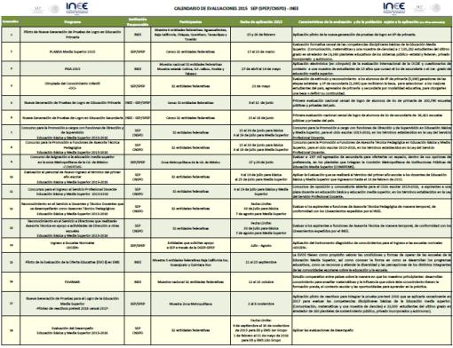 Calendario de evaluaciones INEE