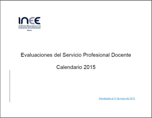 Nuevo Calendario de Evaluaciones del INEE