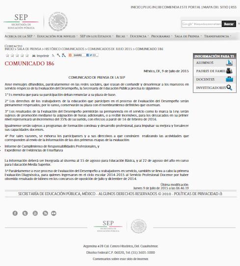 SEP Comunicado 186
