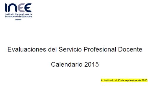 Calendario INEE 15 SEP 2015